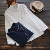 เสื้อเบลาส์คอจีนแขนยาว ปักแต่งลาย (มีให้เลือก 2 สี 2 ไซส์)