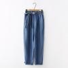 กางเกงยีนส์ขายาวเอวยืด แต่งโบว์ (มีให้เลือก 2 สี)