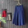 กระโปรงผ้าฝ้ายผสมลินินเอวยืด (มีให้เลือก 3 สี)