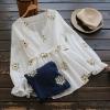 เสื้อเบลาส์คอวีจั๊มเอว ปักแต่งลาย (มีให้เลือก 2 สี)