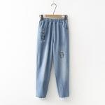 กางเกงยีนส์เอวยืด ปักลาย/แต่งผ้าลูกไม้ (มีให้เลือก 2 สี 3 ไซส์)
