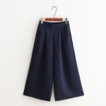 กางเกงขายาวเอวยืด เย็บจีบ/ลายเส้น (มีให้เลือก 4 สี)