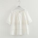 เสื้อเบลาส์สีขาวแต่งลูกไม้ แขนสั้น
