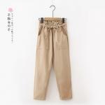 กางเกงขายาวเอวยืดคาดแต่งโบว์ (มีให้เลือก 3 สี 2 ไซส์)