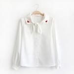 เสื้อชีฟองสีขาวแขนยาว แต่งปก/ปักลาย (มีให้เลือก 3 ไซส์)