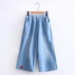 กางเกงยีนส์เอวยืด ขาบาน/ปักลาย (มีให้เลือก 2 สี 2 ไซส์)