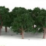 ต้นไม้ สเกล 1:300 สีเขียวเข้ม 25 ต้น 4 ซ.ม.