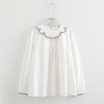 เสื้อเชิ้ตสีขาวแต่งปกปักลาย แขนยาว (มีให้เลือก 2 ไซส์)