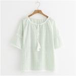 เสื้อเบลาส์ลายดอกแต่งผ้าลูกไม้ แขนสั้น (มีให้เลือก 2 สี)