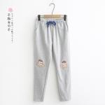 กางเกงขายาวเอวยืด ปักลาย (มีให้เลือก 2 สี 2 ไซส์)