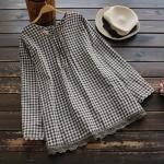 เสื้อเบลาส์ลายสก๊อตแขนยาว แต่งผ้าลูกไม้ (มีให้เลือก 2 สี)