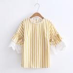 เสื้อเบลาส์ผ้าฝ้ายลายทาง แต่งแขนเสื้อลูกไม้ (มีให้เลือก 2 สี)