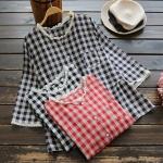 เสื้อผ้าฝ้ายลายสก๊อตแต่งผ้าลูกไม้ แขนสามส่วน (มีให้เลือก 3 สี)