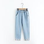 { พร้อมส่ง } กางเกงยีนส์ขายาวปักแต่งลาย (SIZE L)