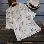 เสื้อผ้าฝ้ายลายดอกไม้คอจีนแขนสั้น (มีให้เลือก 2 สี)