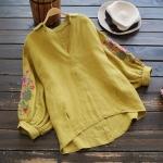 เสื้อผ้าฝ้ายคอวีปักแต่งลาย แขนสามส่วน (มีให้เลือก 3 สี)