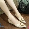 พร้อมส่ง รองเท้าคัชชูส้นเตี้ย 555-2-CRM [สีครีม]