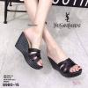 พร้อมส่ง รองเท้าส้นเตารีดแบบสวม 8980-15-BLK [สีดำ]