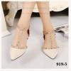 พร้อมส่ง รองเท้าส้นเเบนหนังเเก้ว 919-5-CRE [สีครีม]