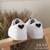 พร้อมส่ง ผ้าใบ ขอบสี แต่งปักรูปหัวใจ G-1307-BLK [สีดำ]