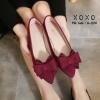 พร้อมส่ง รองเท้าคัทชูส้นเตี้ย โบซ้อน G-1158-RED [สีแดง]