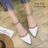 พร้อมส่ง รองเท้าคัทชูส้นแบน สไตล์Valentino G-1169-WHI [สีขาว]