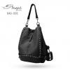 พร้อมส่ง กระเป๋าเป้หนังปักหมุด-BAG-026 [สีดำ]