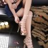 พร้อมส่ง รองเท้าส้นสูง วัสดุหนังแววเงา 17-1283-PKG [สีนาค]