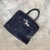 พร้อมส่ง กระเป๋าสะพายข้างผู้หญิง Birkin Pu 30 cm หนังยับ [สีน้ำเงิน]
