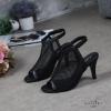 พร้อมส่ง รองเท้าส้นสูงสไตล์สวมหุ้มเท้า ผ้าตาข่าย G1277-BLK [สีดำ]