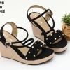 พร้อมส่ง รองเท้าส้นเตารีดแบบสวย 15-198-BLK [สีดำ]