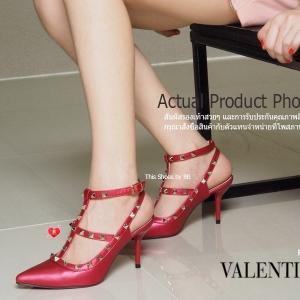พร้อมส่ง รองเท้าส้นสูงรัดส้นสีแดง VALENTINO Rockstud Heel Style แฟชั่นเกาหลี [สีแดง ]