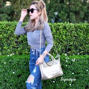 กระเป๋าสะพายแฟชั่น กระเป๋าสะพายข้างผู้หญิง ลองชอมหนัง Style [สีทอง ]