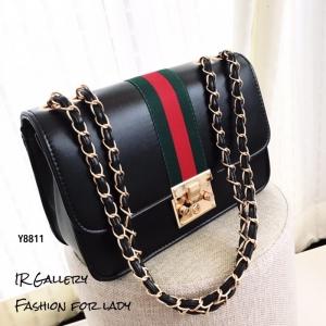 กระเป๋าสะพายแฟชั่น กระเป๋าสะพายข้างผู้หญิง วัสดุหนังพียูคุณภาพพรีเมี่ยม แต่งแถบผ้าคาดสลับเขียวแดง Style Gucci [สีดำ ]