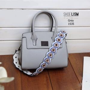 กระเป๋าสะพายแฟชั่น กระเป๋าสะพายข้างผู้หญิง สายคาดเป็นลายหัวใจมุ้งมิ้ง [สีเทา ]