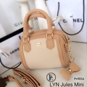 กระเป๋าสะพายแฟชั่น กระเปาสะพายข้างผู้หญิง Lyn Jules Mini ติดอะไหล่ทองเหลือง งานTop Mirror [สีกากี ]