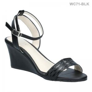 พร้อมส่ง รองเท้าส้นเตารีดแฟชั่น WC71-BLK [สีดำ]