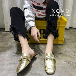 พร้อมส่ง รองเท้าส้นแบนสีทอง แบบสวม สีเมทัลลิค แฟชั่นเกาหลี [สีทอง ]