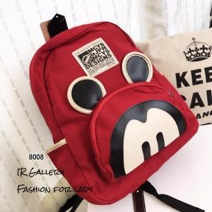กระเป๋าเป้ผู้หญิง กระเป๋าสะพายหลังแฟชั่น ผ้าแคนวาส Style Mcys [สีแดง ]