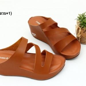 พร้อมส่ง รองเท้าส้นเตารีดแบบสวม 40075-BRN [สีน้ำตาล]