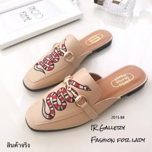 พร้อมส่ง รองเท้าส้นแบนสีครีม ทรงสลิปเปอร์ Style Gucci แฟชั่นเกาหลี [สีครีม ]