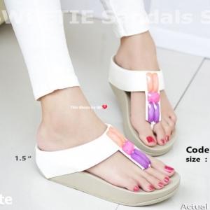พร้อมส่ง รองเท้าแตะเพื่อสุขภาพสีขาว SWEETIE Sandals Style แฟชั่นเกาหลี [สีขาว ]