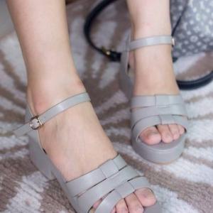 พร้อมส่ง รองเท้าส้นเตารีดแฟชั่น H1695-GRY [สีเทา]