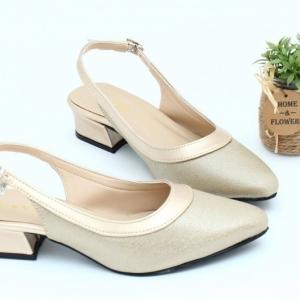 พร้อมส่ง รองเท้าคัชชูรัดส้นเปิดท้าย TW0069-GLD [สีทอง]