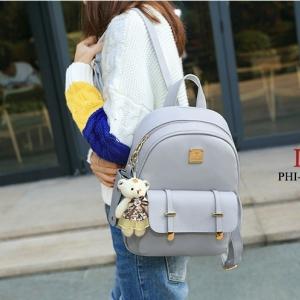 กระเป๋าเป้ผู้หญิง กระเป๋าสะพายหลังแฟชั่น ในเซตประกอบด้วยกระเป๋า3ใบ [สีเทา ]