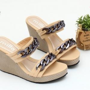 พร้อมส่ง รองเท้าส้นเตารีดแบบสวยเท่ 13-60-KHA [สีกากี]