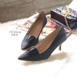 พร้อมส่ง รองเท้าคัทชูส้นสูงหัวแหลมสีดำ แต่งกากเพชร แฟชั่นเกาหลี [สีดำ ]
