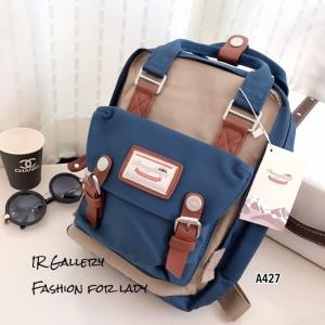 กระเป๋าเป้ผู้หญิง กระเป๋าสะพายหลังแฟชั่น วัสดุผ้าร่มคุณภาพพรีเมี่ยม Style Doughnut Macaroon [สีฟ้า/ครีม ]
