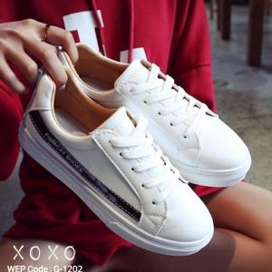 พร้อมส่ง รองเท้าผ้าใบคาดข้างเมทัลลิค G-1202-BLK [สีดำ]
