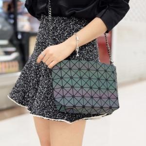 กระเป๋าสะพายแฟชั่น กระเปาสะพายข้างผู้หญิง bao bao mini สีรุ้ง Logo สายโซ่ [สีเทา ]